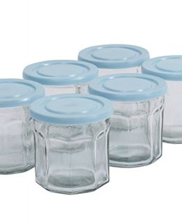 Clear glass storage jar w. turquoise lid